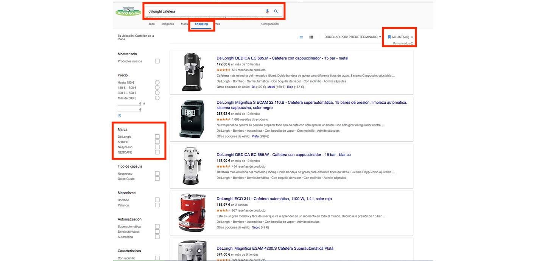 campana-adwords-google-shopping-ejemplo-busqueda-avanzada-cafetera-de-longhi