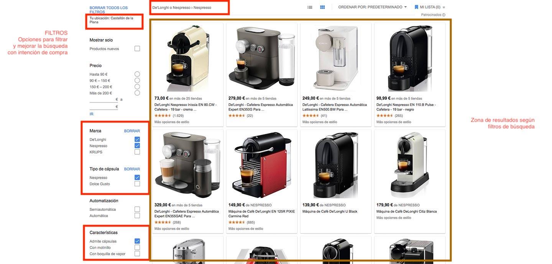 campana-adwords-google-shopping-ejemplo-busqueda-avanzada-cafetera-de-longhi-con-filtros