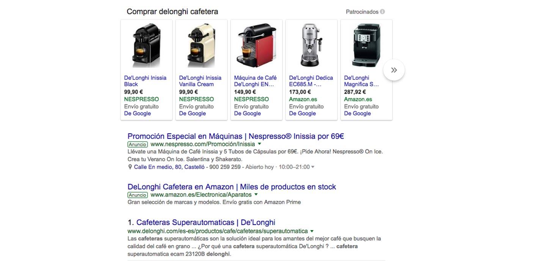 campana-adwords-google-shopping-ejemplo-busqueda-cafetera-de-longhi