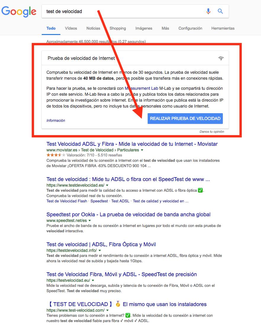 Test de velocidad en navegador google